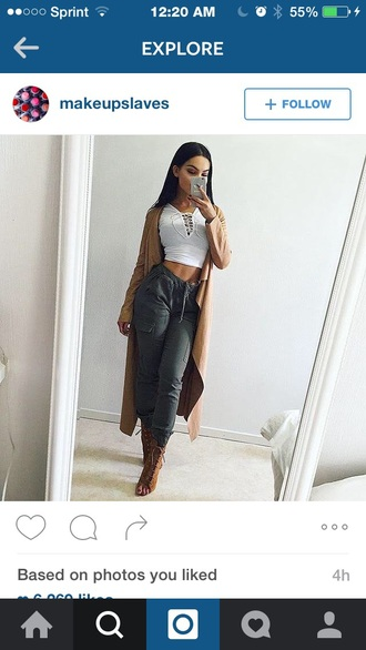 pants grey white crop form fitted lace up