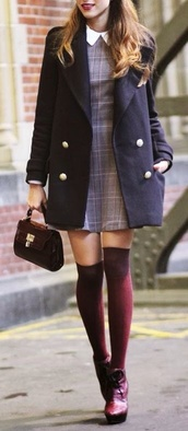 preppy,preppy dress,blue dress,collared dress,socks,bag,leggings,burgundy,tartan,purple high heels,peter pan color dress,dress,checkered,checkered dress,grey,peter pan collar,coat,thick,buttons