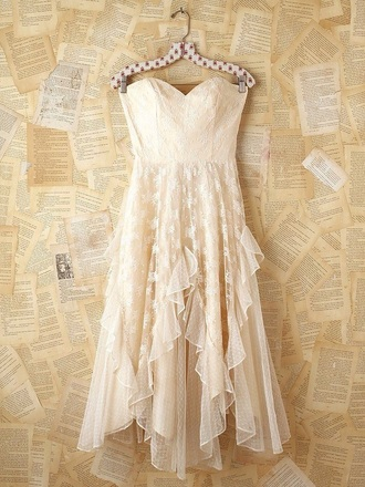 dress strapless dresses lace dress ivory dress flowy dress