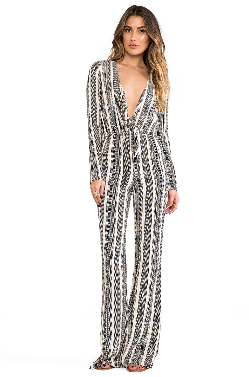 STONE_COLD_FOX Stardust Jumpsuit in Black & Ivory Stripe from REVOLVEclothing.com