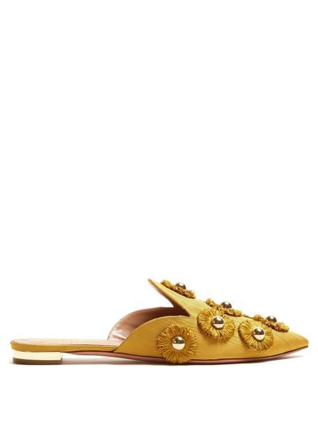 Aquazzura embellished sunflower shoes gold