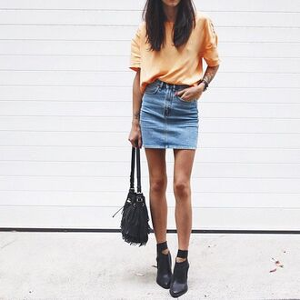 skirt orange shirt denim skirt black bag black strap heels blogger
