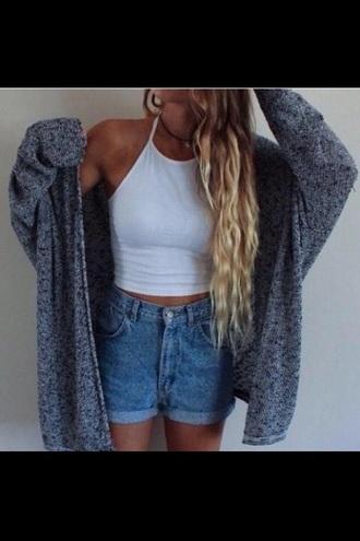 cardigan crop tops stylish grey white blonde hair cute beautiful shorts tank top