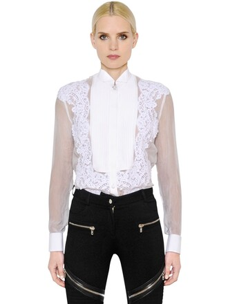 shirt lace shirt chiffon sheer lace white top