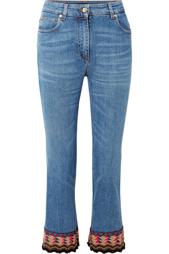 jeans embroidered cropped high blue