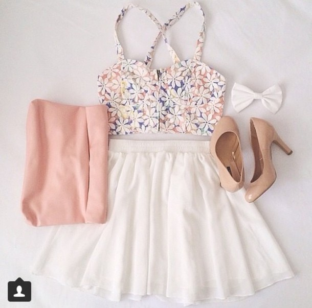 tank top crop tops floral summer pretty skirt shirt shoes bow cute white top blouse hat