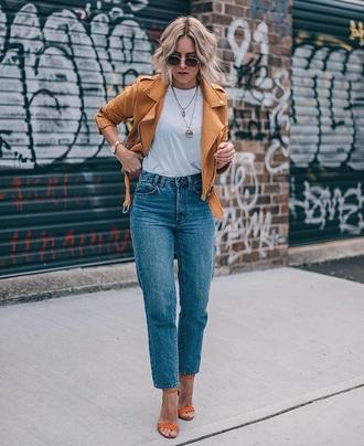 jeans jacket yellow jacket sunglasses mom jeans denim blue jeans t-shirt white t-shirt sandals