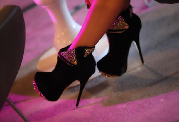 Shoes, black shoes, high heels, booties, rhinestone, platform