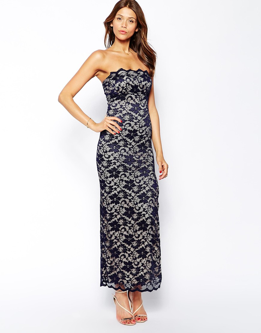 Elise ryan lace bandeau maxi dress with thigh split at asos.com