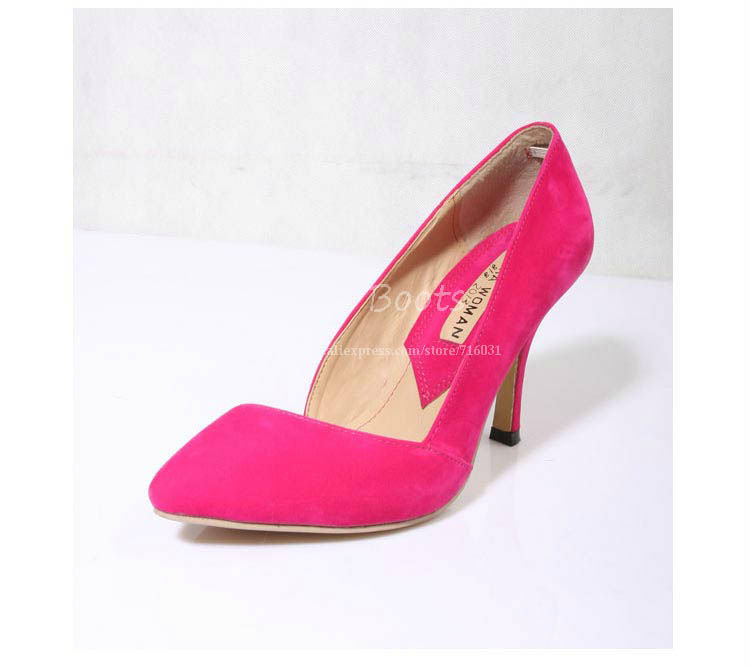 Discount Cheap Pointed Toe Black Blue Hot Pink Suede Pumps Women Two Piece Sexy High Heels Stiletto Office Shoes Free Shipping-in Pumps from Shoes on Aliexpress.com