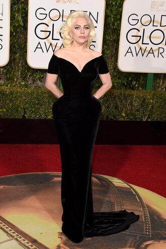 dress plunge dress lady gaga black dress gown prom dress golden globes 2016 long dress red carpet dress velvet dress velvet