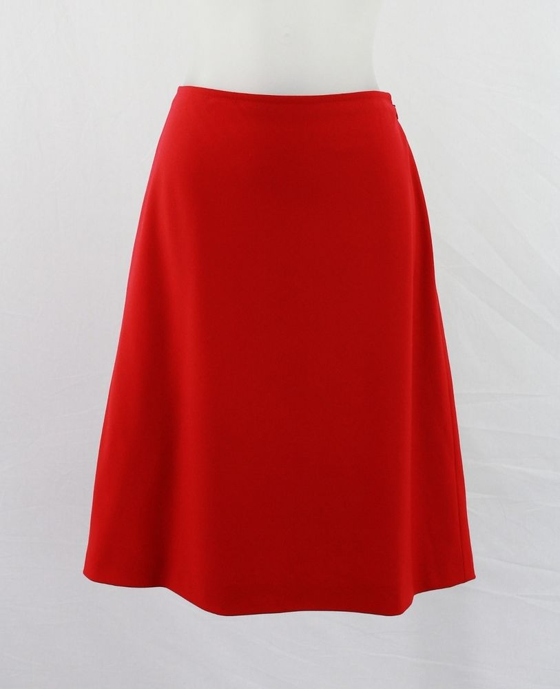 Spa Red Wool Blend Lined A Line Skirt 8 | eBay