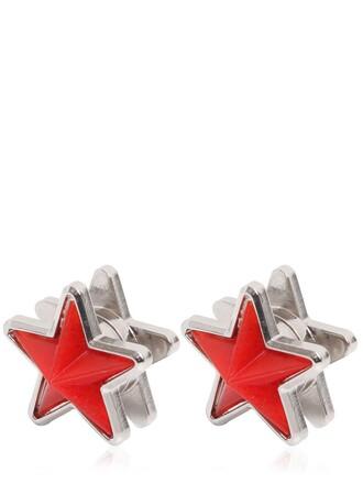 metal earrings black red jewels