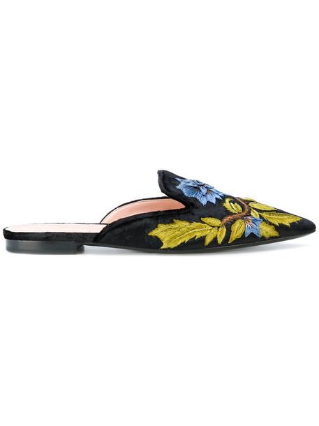Alberta Ferretti women mules leather cotton black velvet shoes