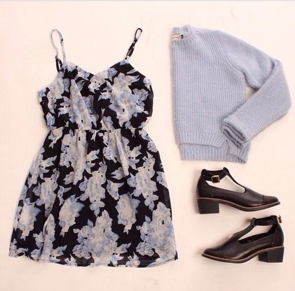 shoes buckles black high heels sweater dress floral flowers strappy blue rosy knit baby blue vintage