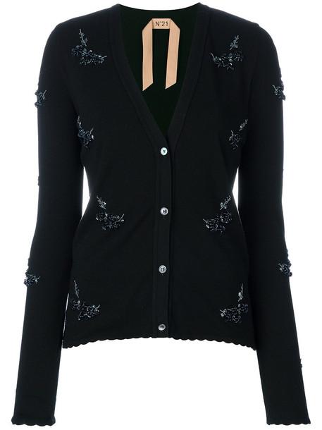 No21 cardigan cardigan women embellished black sweater