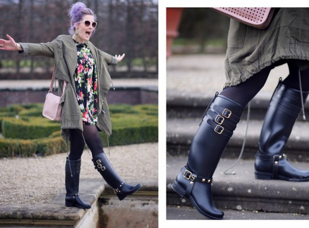 like a riot blogger pink bag floral dress buckles black boots riding boots parka army green jacket