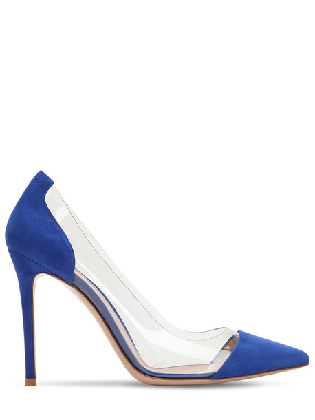 GIANVITO ROSSI 105mm Plexi & Suede Pumps in blue