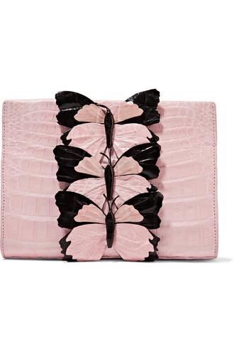 clutch crocodile pastel pink pastel pink bag
