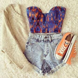 top corsage orange allstars orange blue turquoise beige sweater high waisted nice summer outfits violet shorts converse
