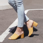 shoes,sole society,mules,suede mules,wedge mules,yellow shoes,black mule loafers,summer shoes,summer sandals,spring shoes,trendy,suede shoes
