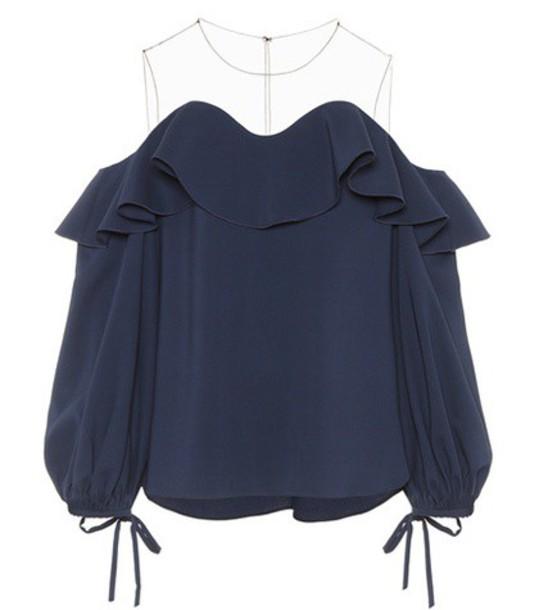 oscar de la renta blouse silk blue top