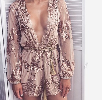 jumpsuit gold romper sheer cestvogue vogue party dress outfit look style instagram plunge neckline sexy pretty cute plunge v neck long sleeves