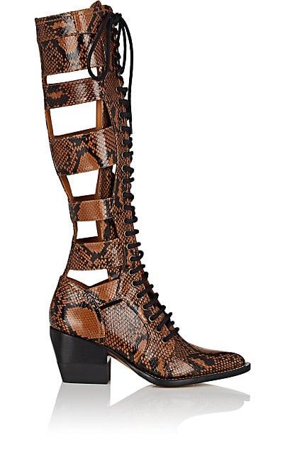 Chloé Python-Print Leather Knee Boots | Barneys New York