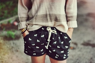 shorts tumblr navy dog white cute preppy drawstring drawstring shorts