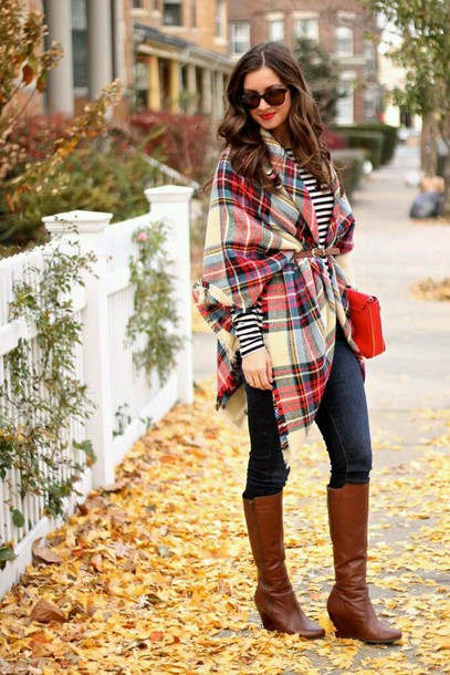 shoes boots wedges fall outfits plaid stripes blouse scarf