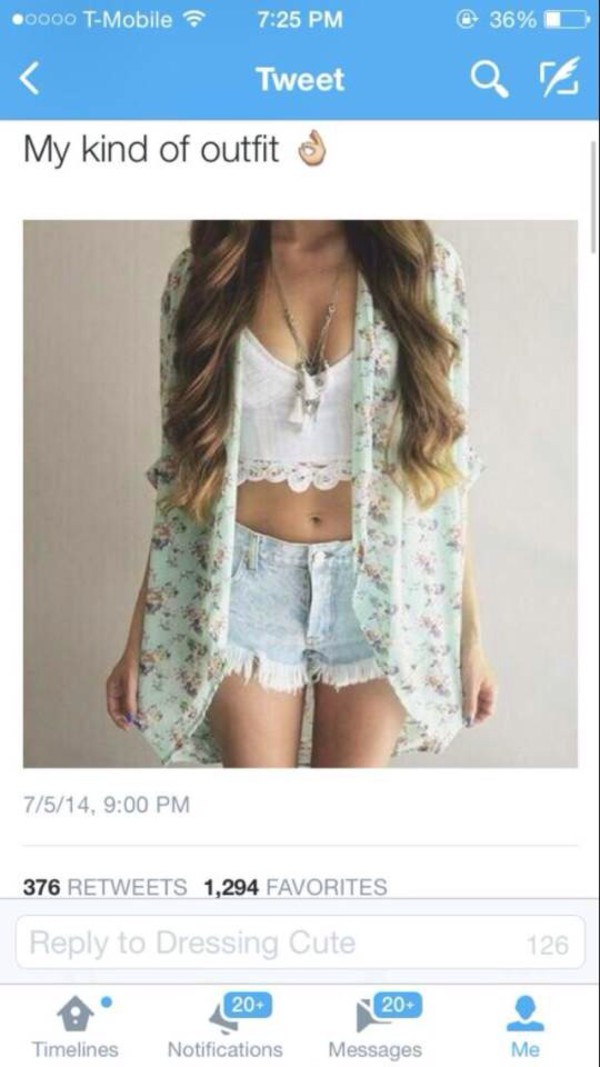 light wash denim shorts shorts white crop tops necklace crop tops kimono floral kimono jewels top cardigan