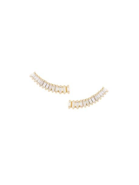 women baby earrings gold yellow grey metallic jewels