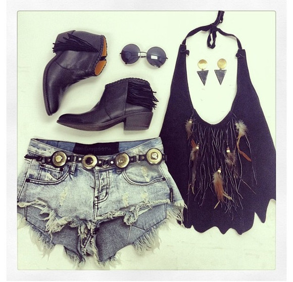 ankle boots blouse feather tops halter top
