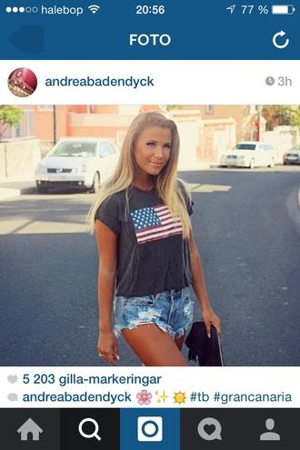 shirt american flag t-shirt. navyblue