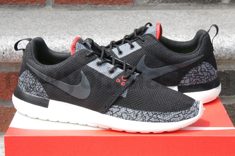 quality design 3d924 b82c3 Nike Roshe Run Jordan 3 Black Cement Custom Mens