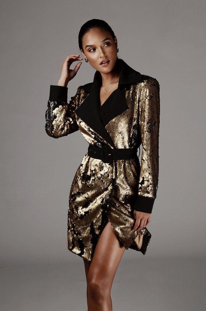 Black Sequin Two Tone Trench Coat