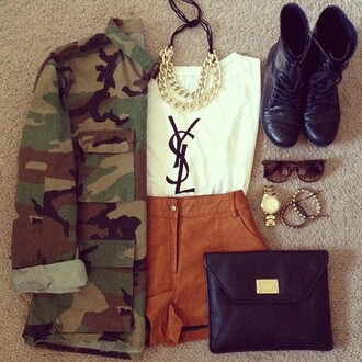 shoes army look jacket shorts jewels shirt bag top coat ysl t-shirt ysl top army green jacket white t-shirt brown camouflage leathered shorts gold brown shorts ysl tank top camo jacket black combat boots army green green clothes whole outfit cute boots glasses necklace accessories pants denim jacket