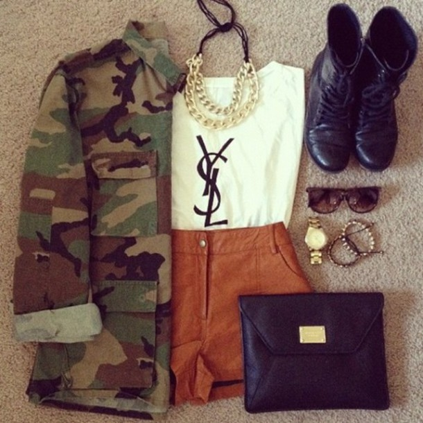 shoes army look jacket shorts jewels shirt bag top coat ysl t-shirt ysl top army green jacket white t-shirt brown camouflage leathered shorts camouflage gold brown shorts ysl tank top camo jacket black combat boots army green green camouflage clothes whole outfit cute boots glasses necklace accessories pants denim jacket