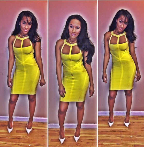 dress bodycon bodycon dress yellow dress