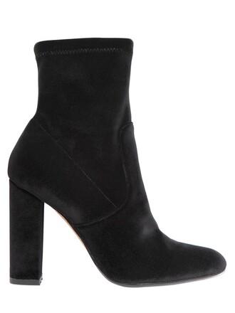 boots ankle boots velvet black shoes