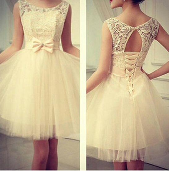 Cute sleeveless lace bow dress