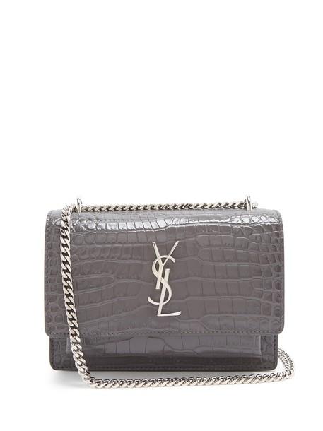 Saint Laurent cross bag leather crocodile dark grey