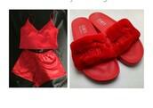 shoes,red,puma,puma x rihanna,silky pajamas