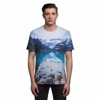 t-shirt blue menswear nature mountains nature print mountain print print printed clothing clothes fusion mens t-shirt