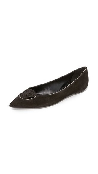 flats gold suede black shoes