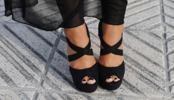sandals black shoes high heels straps