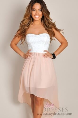 dress white dress pink dress lace strapless high-low dresses cute formal beige