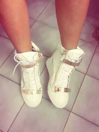 shoes gold white sneakers giuseppe zanotti luxury