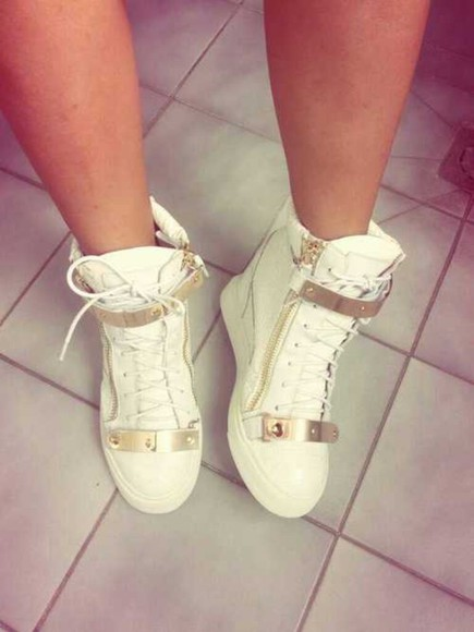 shoes sneakers giuseppe zanotti white gold luxury