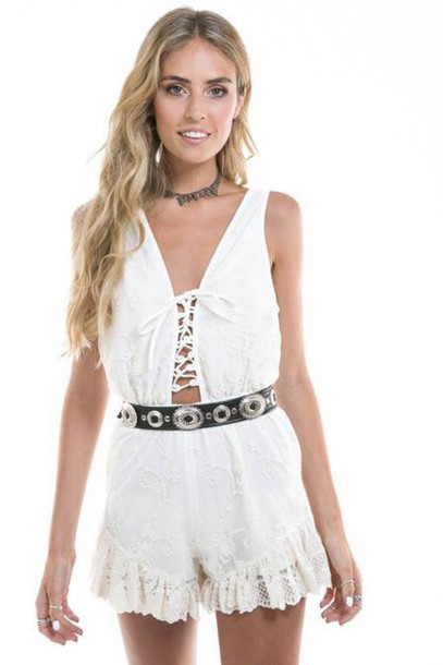 dress white lace dress white romper lace dress embroidered dress short playsuit jumpsuit hipster indie bohemian boho frill tie up leather belt spring romper lace romper